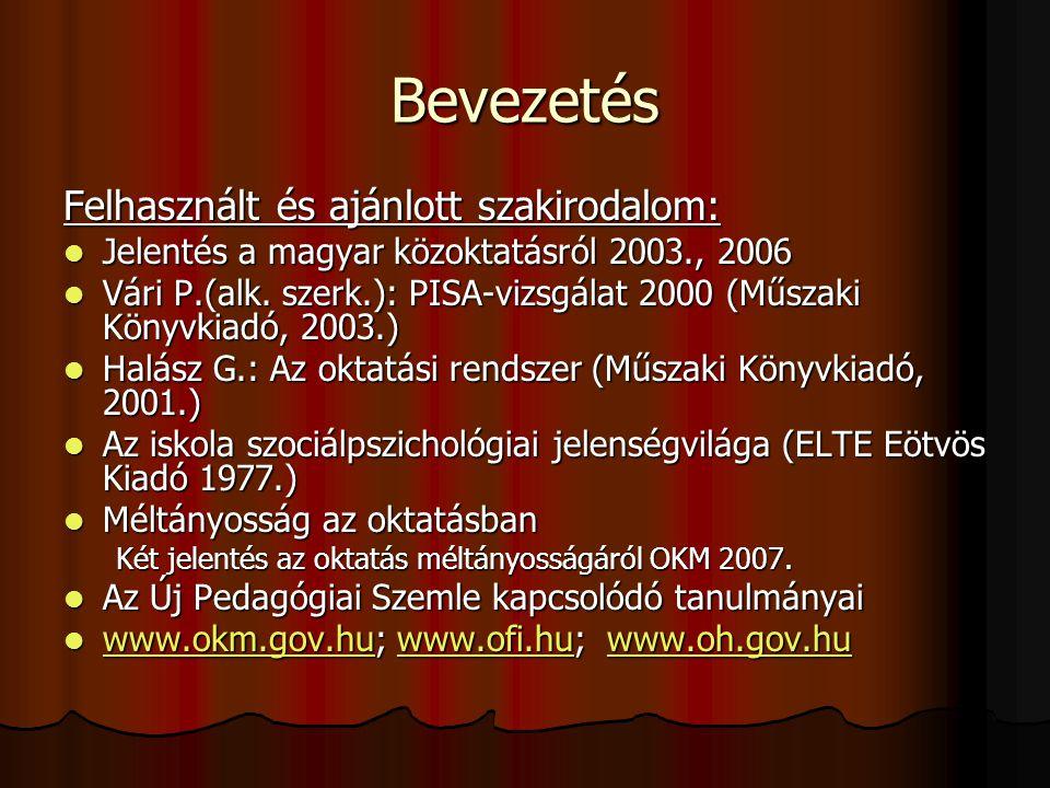 Bevezetés Felhasznált és ajánlott szakirodalom: Jelentés a magyar közoktatásról 2003., 2006 Jelentés a magyar közoktatásról 2003., 2006 Vári P.(alk. s