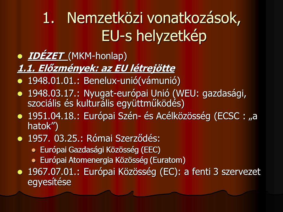 1.Nemzetközi vonatkozások, EU-s helyzetkép IDÉZET (MKM-honlap) IDÉZET (MKM-honlap) 1.1. Előzmények: az EU létrejötte 1948.01.01.: Benelux-unió(vámunió
