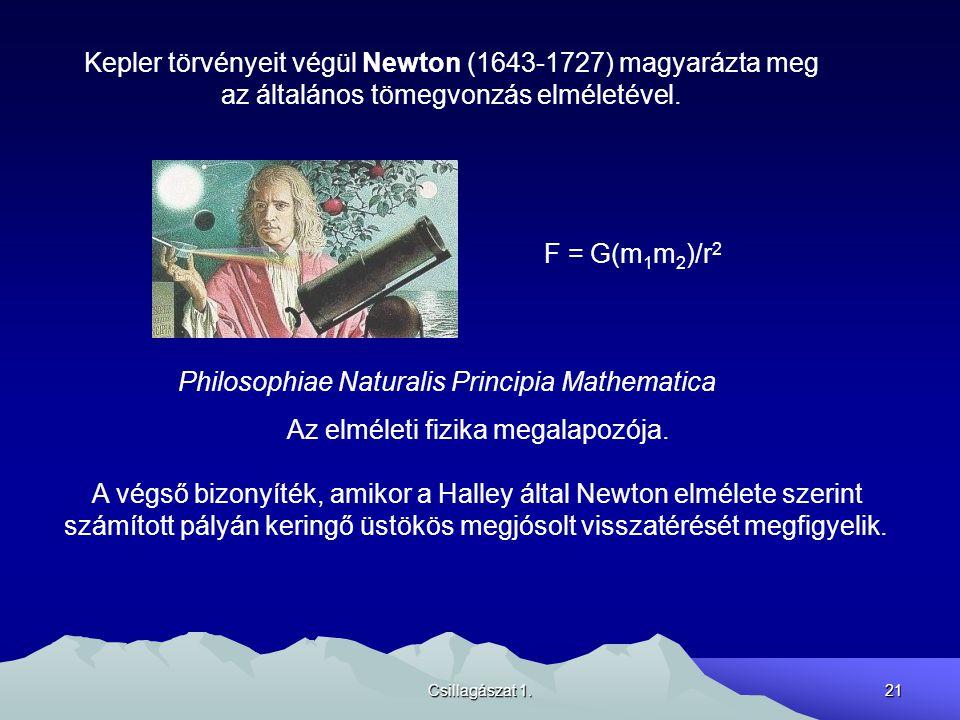 Csillagászat 1.21 Kepler törvényeit végül Newton (1643-1727) magyarázta meg az általános tömegvonzás elméletével. F = G(m 1 m 2 )/r 2 Philosophiae Nat