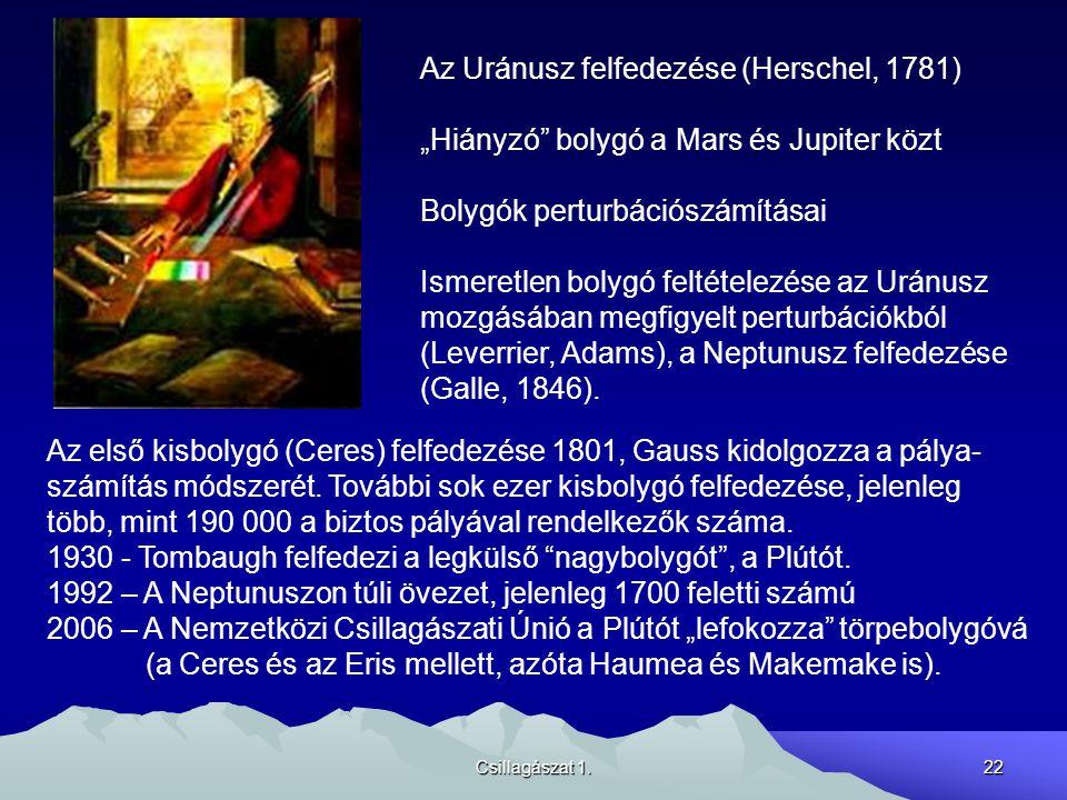 """Csillagászat 1.22 Az Uránusz felfedezése (Herschel, 1781) """"Hiányzó bolygó a Mars és Jupiter közt Bolygók perturbációszámításai Ismeretlen bolygó feltételezése az Uránusz mozgásában megfigyelt perturbációkból (Leverrier, Adams), a Neptunusz felfedezése (Galle, 1846)."""