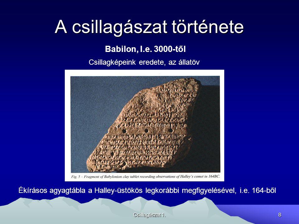 Csillagászat 1.8 A csillagászat története Babilon, I.e. 3000-től Ékírásos agyagtábla a Halley-üstökös legkorábbi megfigyelésével, i.e. 164-ből Csillag