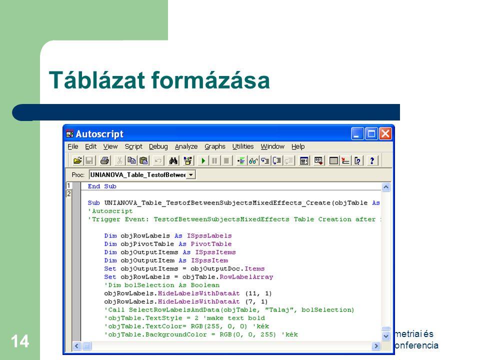 VIII. Magyar Biometriai és Biomatematikai Konferencia 14 Táblázat formázása