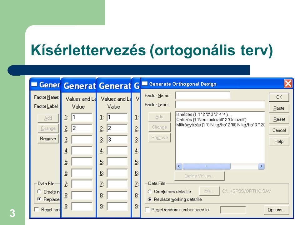 VIII. Magyar Biometriai és Biomatematikai Konferencia 3 Kísérlettervezés (ortogonális terv)