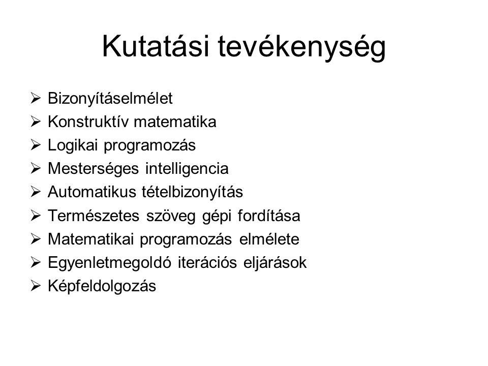 Kutatási tevékenység  Bizonyításelmélet  Konstruktív matematika  Logikai programozás  Mesterséges intelligencia  Automatikus tételbizonyítás  Te