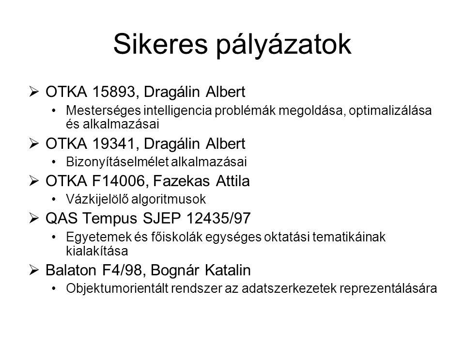 Sikeres pályázatok  OTKA 15893, Dragálin Albert Mesterséges intelligencia problémák megoldása, optimalizálása és alkalmazásai  OTKA 19341, Dragálin