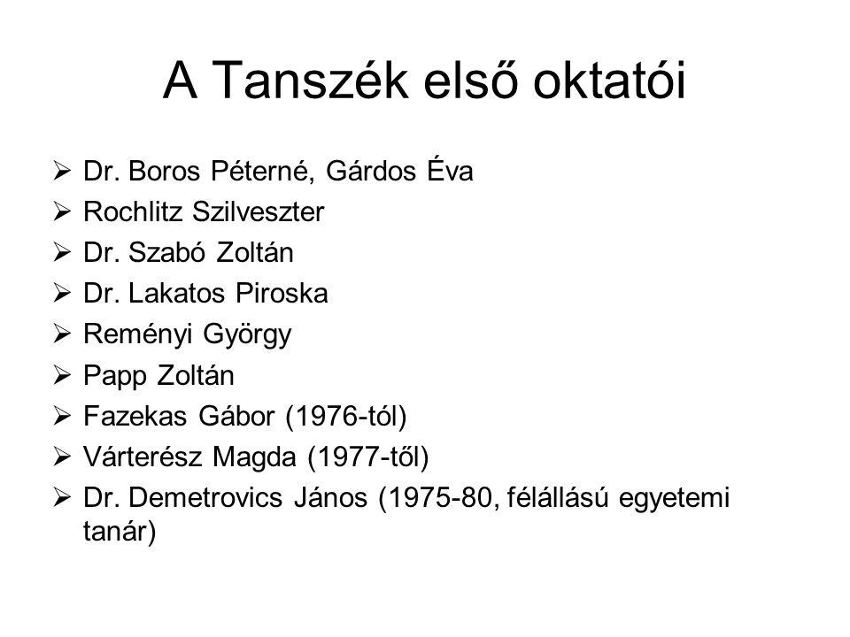 A Tanszék első oktatói  Dr. Boros Péterné, Gárdos Éva  Rochlitz Szilveszter  Dr. Szabó Zoltán  Dr. Lakatos Piroska  Reményi György  Papp Zoltán