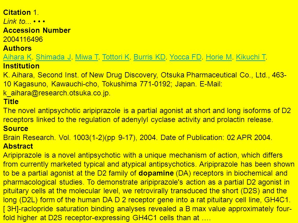 Citation 1. Link to... Accession Number 2004116496 Authors Aihara KAihara K.