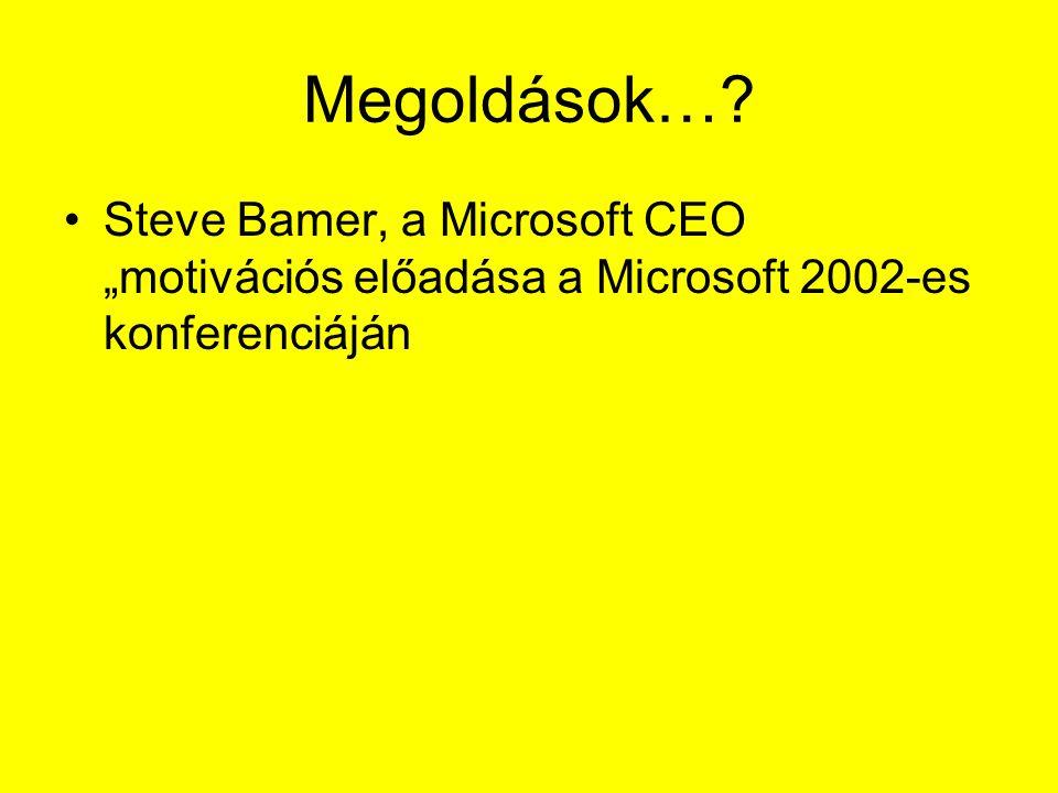 """Megoldások…? Steve Bamer, a Microsoft CEO """"motivációs előadása a Microsoft 2002-es konferenciáján"""