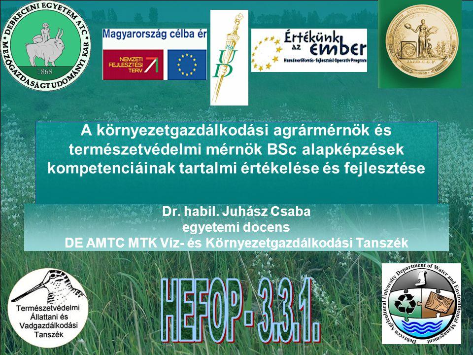 A környezetgazdálkodási agrármérnök és természetvédelmi mérnök BSc alapképzések kompetenciáinak tartalmi értékelése és fejlesztése Dr.