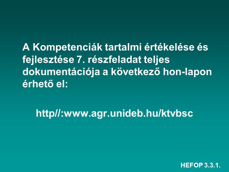 HEFOP 3.3.1. A Kompetenciák tartalmi értékelése és fejlesztése 7.