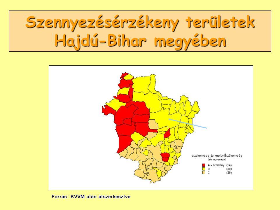 Szennyezésérzékeny területek Hajdú-Bihar megyében Forrás: KVVM után átszerkesztve