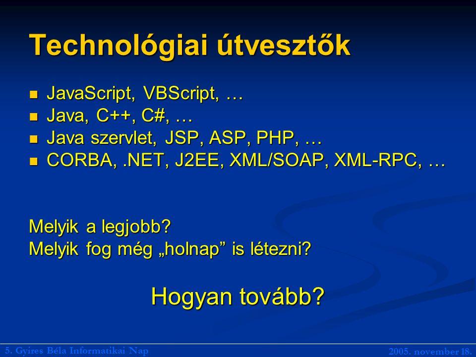 Technológiai útvesztők JavaScript, VBScript, … JavaScript, VBScript, … Java, C++, C#, … Java, C++, C#, … Java szervlet, JSP, ASP, PHP, … Java szervlet, JSP, ASP, PHP, … CORBA,.NET, J2EE, XML/SOAP, XML-RPC, … CORBA,.NET, J2EE, XML/SOAP, XML-RPC, … Melyik a legjobb.