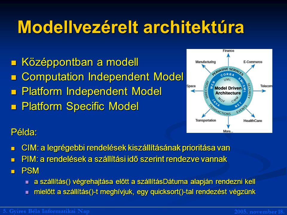 Modellvezérelt architektúra Középpontban a modell Középpontban a modell Computation Independent Model Computation Independent Model Platform Independent Model Platform Independent Model Platform Specific Model Platform Specific ModelPélda: CIM: a legrégebbi rendelések kiszállításának prioritása van CIM: a legrégebbi rendelések kiszállításának prioritása van PIM: a rendelések a szállítási idő szerint rendezve vannak PIM: a rendelések a szállítási idő szerint rendezve vannak PSM PSM a szállítás() végrehajtása előtt a szállításDátuma alapján rendezni kell a szállítás() végrehajtása előtt a szállításDátuma alapján rendezni kell mielőtt a szállítás()-t meghívjuk, egy quicksort()-tal rendezést végzünk mielőtt a szállítás()-t meghívjuk, egy quicksort()-tal rendezést végzünk 5.