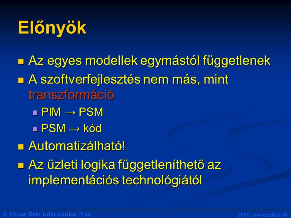 Előnyök Az egyes modellek egymástól függetlenek Az egyes modellek egymástól függetlenek A szoftverfejlesztés nem más, mint transzformáció A szoftverfejlesztés nem más, mint transzformáció PIM → PSM PIM → PSM PSM → kód PSM → kód Automatizálható.