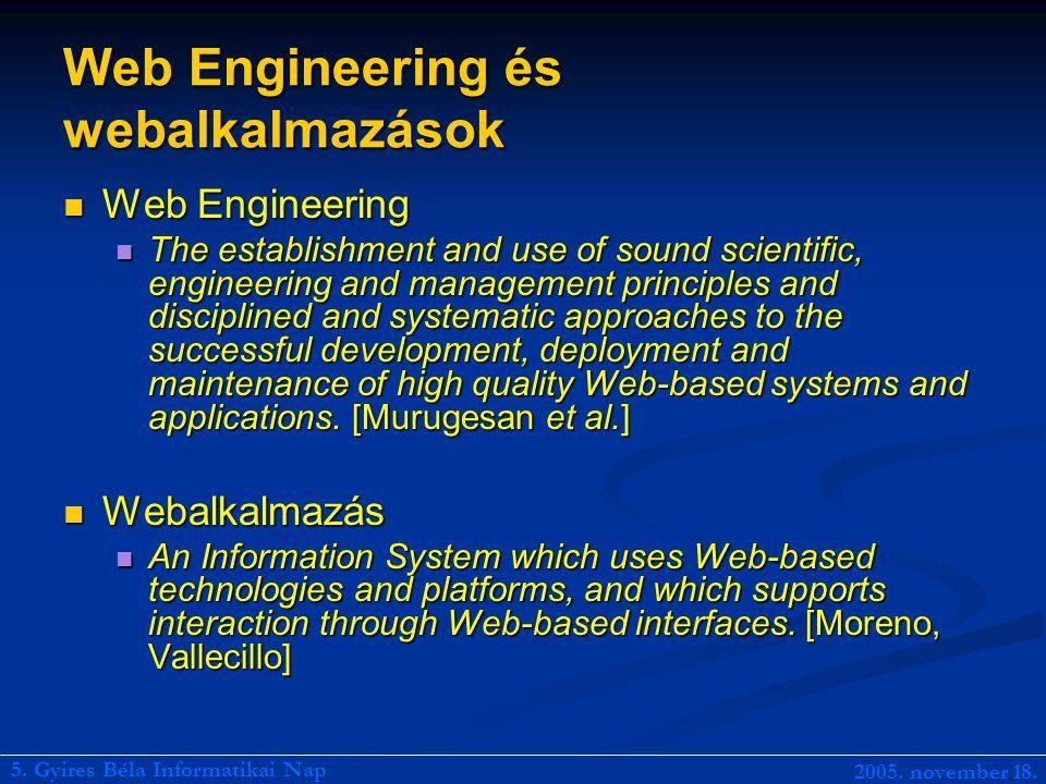 Webalkalmazások életciklusa Követelményelemzés Követelményelemzés Koncepcionális tervezés Koncepcionális tervezés Prototípuskészítés és validáció Prototípuskészítés és validáció Logikai tervezés Logikai tervezés Implementáció Implementáció Karbantartás Karbantartás 5.