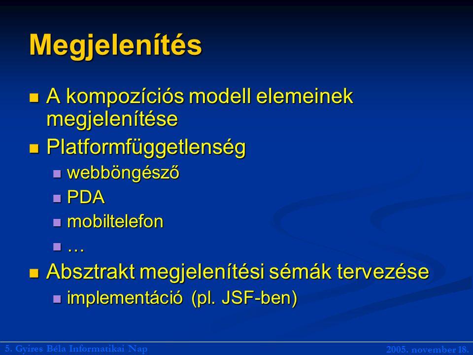 Megjelenítés A kompozíciós modell elemeinek megjelenítése A kompozíciós modell elemeinek megjelenítése Platformfüggetlenség Platformfüggetlenség webböngésző webböngésző PDA PDA mobiltelefon mobiltelefon … Absztrakt megjelenítési sémák tervezése Absztrakt megjelenítési sémák tervezése implementáció (pl.