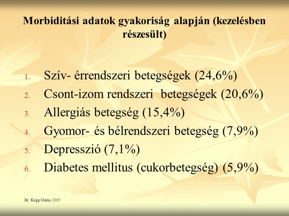 Morbiditási adatok gyakoriság alapján (kezelésben részesült) 1.
