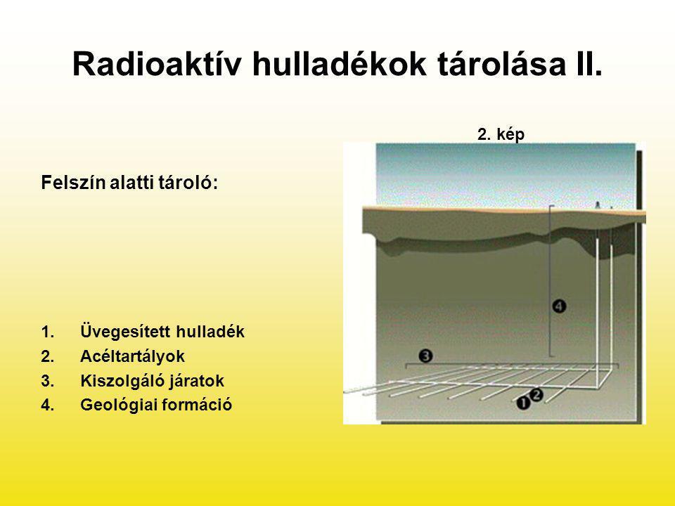 Radioaktív hulladékok tárolása II. Felszín alatti tároló: 1.Üvegesített hulladék 2.Acéltartályok 3.Kiszolgáló járatok 4.Geológiai formáció 2. kép