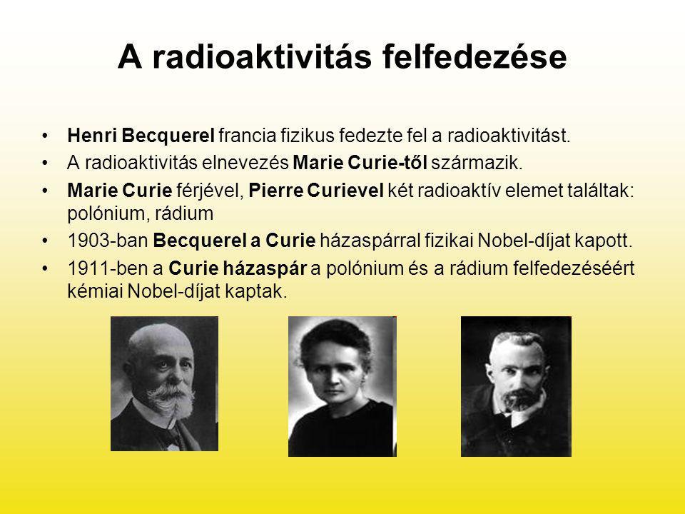 A radioaktivitás felfedezése Henri Becquerel francia fizikus fedezte fel a radioaktivitást. A radioaktivitás elnevezés Marie Curie-től származik. Mari