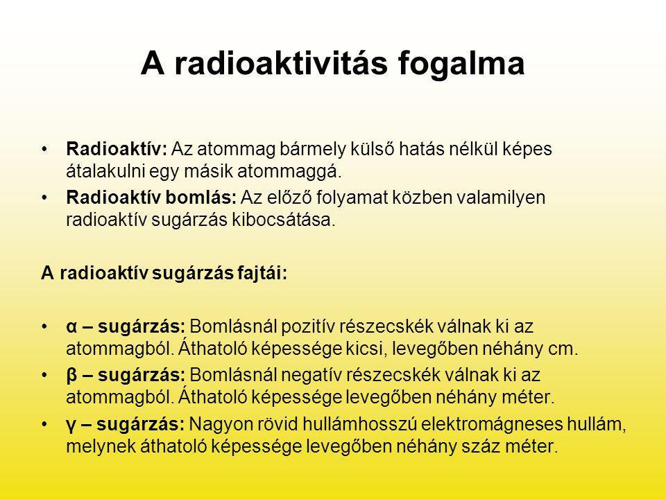 A radioaktivitás fogalma Radioaktív: Az atommag bármely külső hatás nélkül képes átalakulni egy másik atommaggá. Radioaktív bomlás: Az előző folyamat