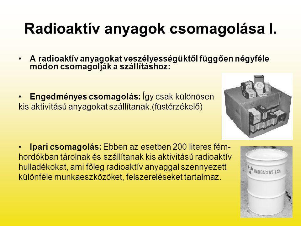 Radioaktív anyagok csomagolása I. A radioaktív anyagokat veszélyességüktől függően négyféle módon csomagolják a szállításhoz: Engedményes csomagolás: