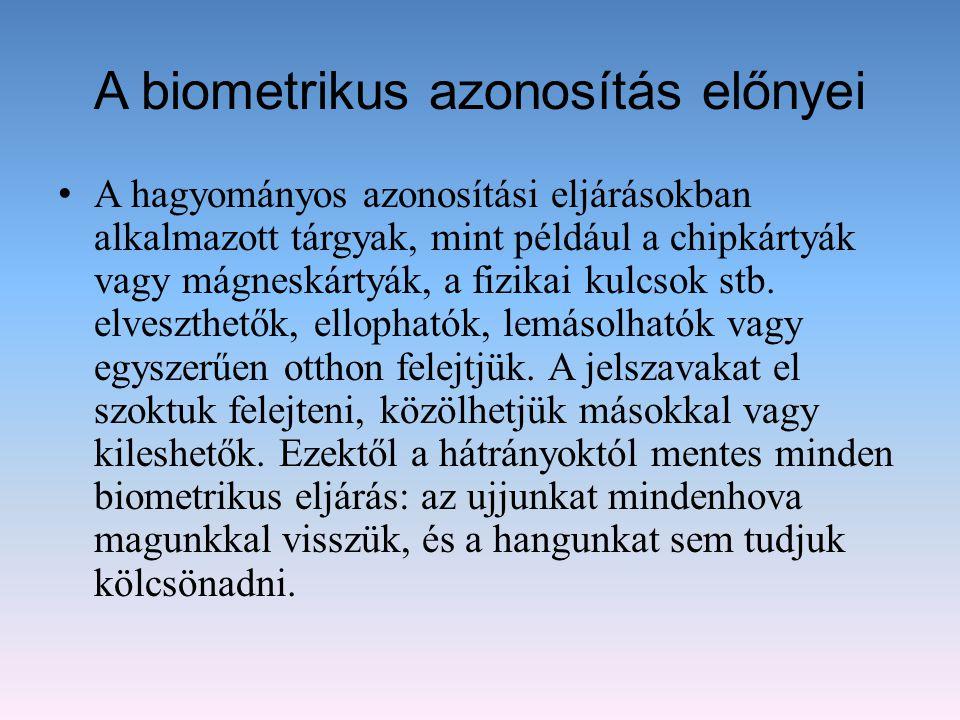 A biometrikus azonosítás előnyei A hagyományos azonosítási eljárásokban alkalmazott tárgyak, mint például a chipkártyák vagy mágneskártyák, a fizikai