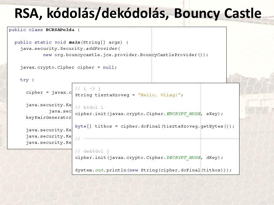 RSA, kódolás/dekódolás, Bouncy Castle