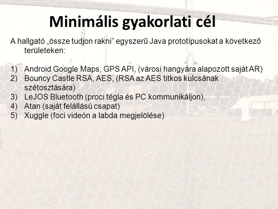 """Minimális gyakorlati cél A hallgató """"össze tudjon rakni"""" egyszerű Java prototípusokat a következő területeken: 1)Android Google Maps, GPS API, (városi"""