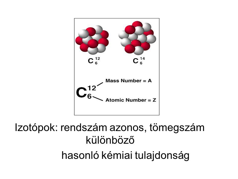 Izotópok: rendszám azonos, tömegszám különböző hasonló kémiai tulajdonság