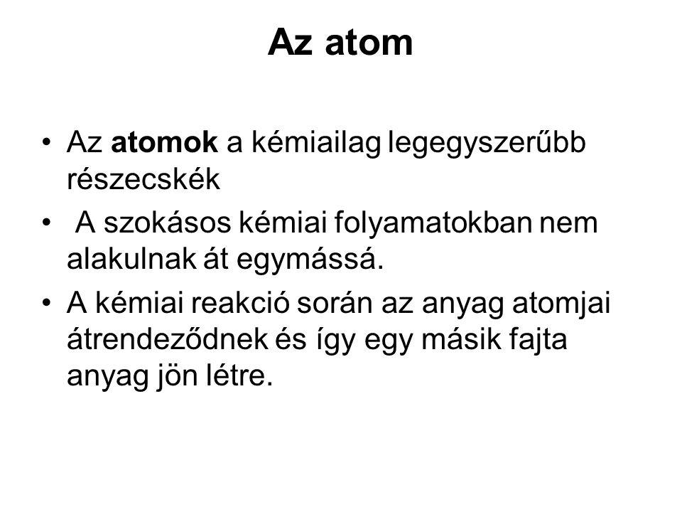 Az atom Az atomok a kémiailag legegyszerűbb részecskék A szokásos kémiai folyamatokban nem alakulnak át egymássá. A kémiai reakció során az anyag atom