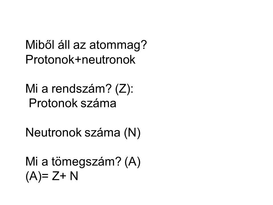 Miből áll az atommag? Protonok+neutronok Mi a rendszám? (Z): Protonok száma Neutronok száma (N) Mi a tömegszám? (A) (A)= Z+ N