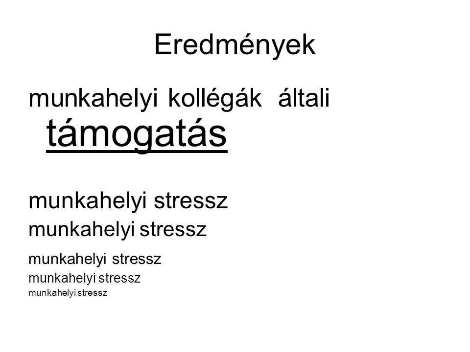 Eredmények munkahelyi kollégák általi támogatás munkahelyi stressz