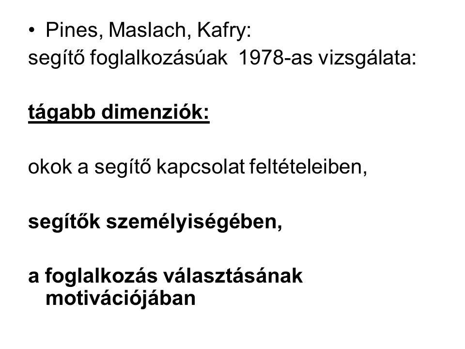 Pines, Maslach, Kafry: segítő foglalkozásúak 1978-as vizsgálata: tágabb dimenziók: okok a segítő kapcsolat feltételeiben, segítők személyiségében, a f