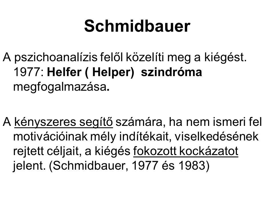 Schmidbauer A pszichoanalízis felől közelíti meg a kiégést. 1977: Helfer ( Helper) szindróma megfogalmazása. A kényszeres segítő számára, ha nem ismer