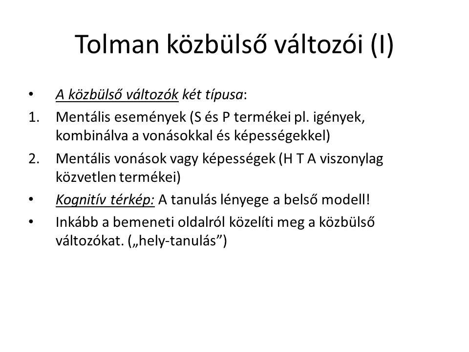 Tolman közbülső változói (I) A közbülső változók két típusa: 1.Mentális események (S és P termékei pl. igények, kombinálva a vonásokkal és képességekk