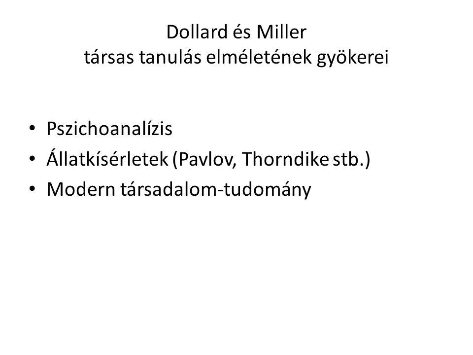 Dollard és Miller társas tanulás elméletének gyökerei Pszichoanalízis Állatkísérletek (Pavlov, Thorndike stb.) Modern társadalom-tudomány