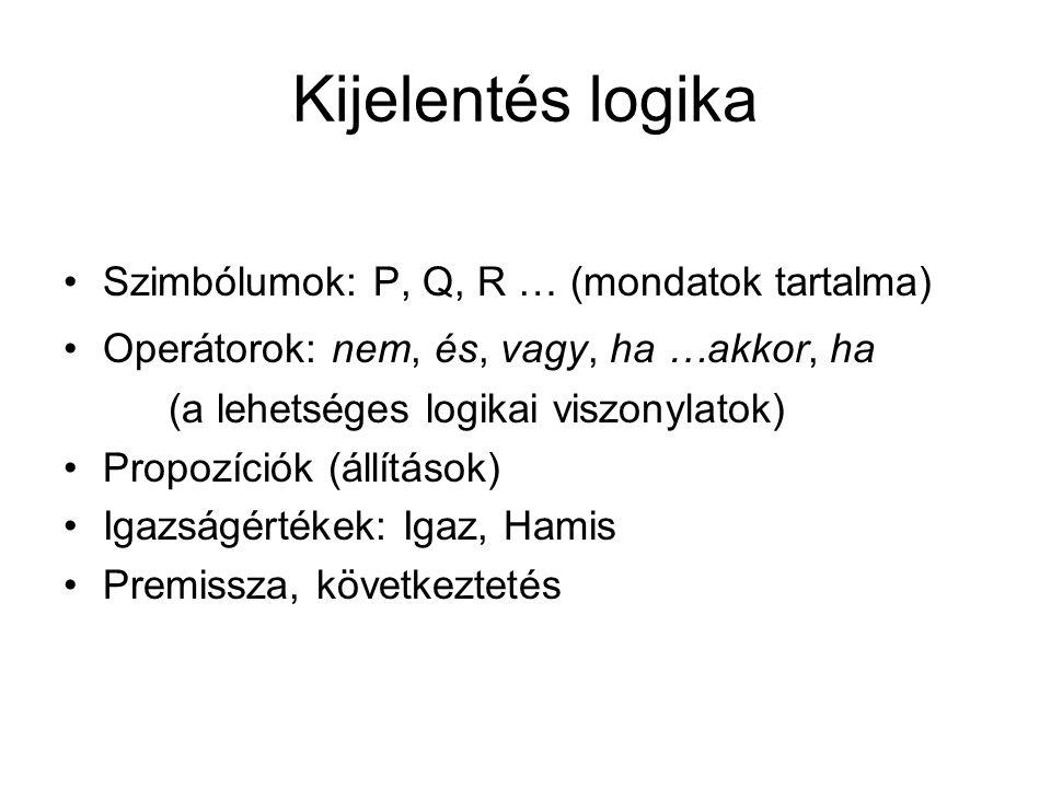 Kijelentés logika Szimbólumok: P, Q, R … (mondatok tartalma) Operátorok: nem, és, vagy, ha …akkor, ha (a lehetséges logikai viszonylatok) Propozíciók (állítások) Igazságértékek: Igaz, Hamis Premissza, következtetés