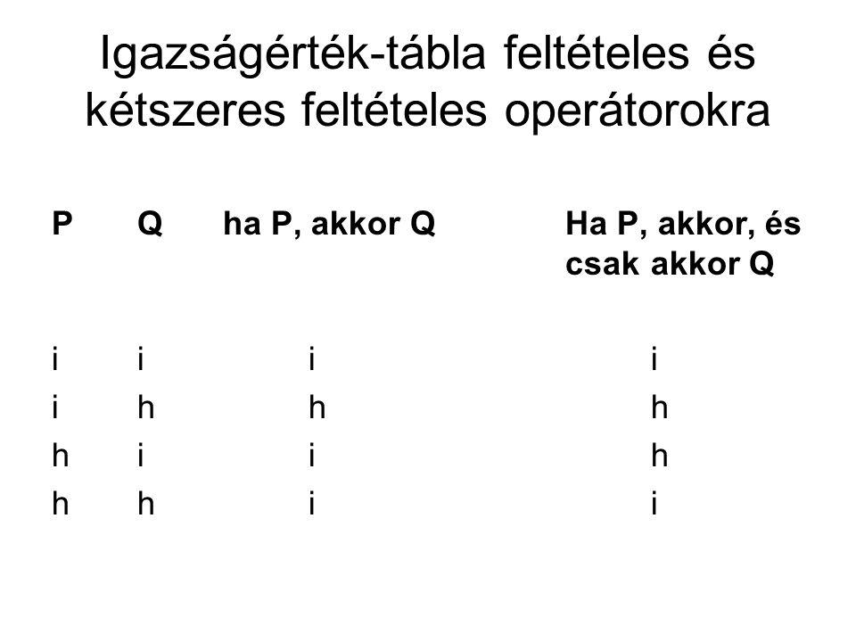 Igazságérték-tábla feltételes és kétszeres feltételes operátorokra PQha P, akkor QHa P, akkor, és csakakkor Q i iii i hhh h iih h hii
