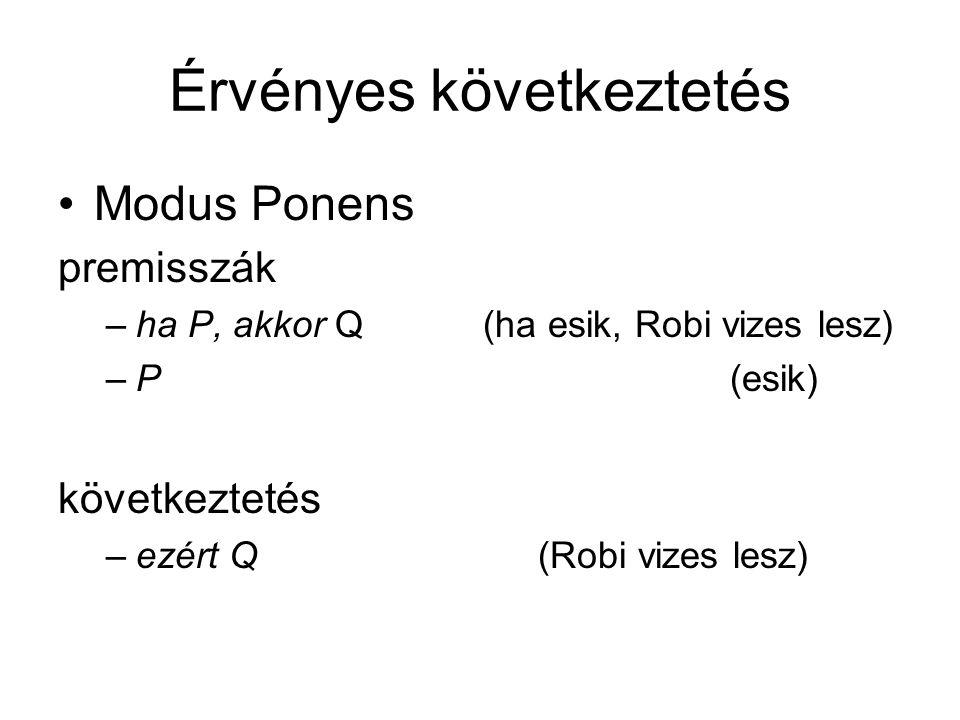 Érvényes következtetés Modus Ponens premisszák –ha P, akkor Q (ha esik, Robi vizes lesz) –P (esik) következtetés –ezért Q(Robi vizes lesz)