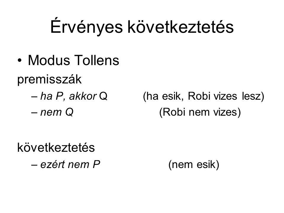 Érvényes következtetés Modus Tollens premisszák –ha P, akkor Q (ha esik, Robi vizes lesz) –nem Q(Robi nem vizes) következtetés –ezért nem P (nem esik)