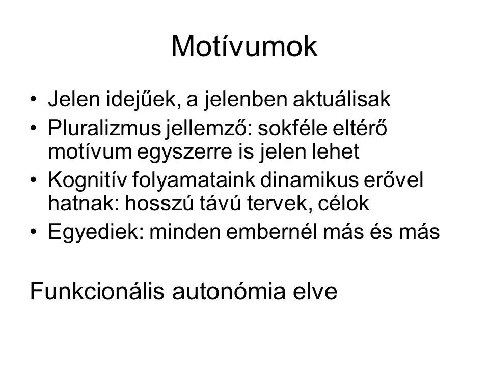 Motívumok Jelen idejűek, a jelenben aktuálisak Pluralizmus jellemző: sokféle eltérő motívum egyszerre is jelen lehet Kognitív folyamataink dinamikus e