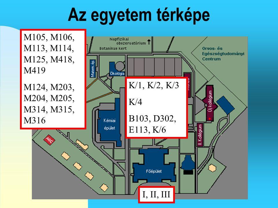 Az egyetem térképe K/1, K/2, K/3 K/4 B103, D302, E113, K/6 I, II, III M105, M106, M113, M114, M125, M418, M419 M124, M203, M204, M205, M314, M315, M316