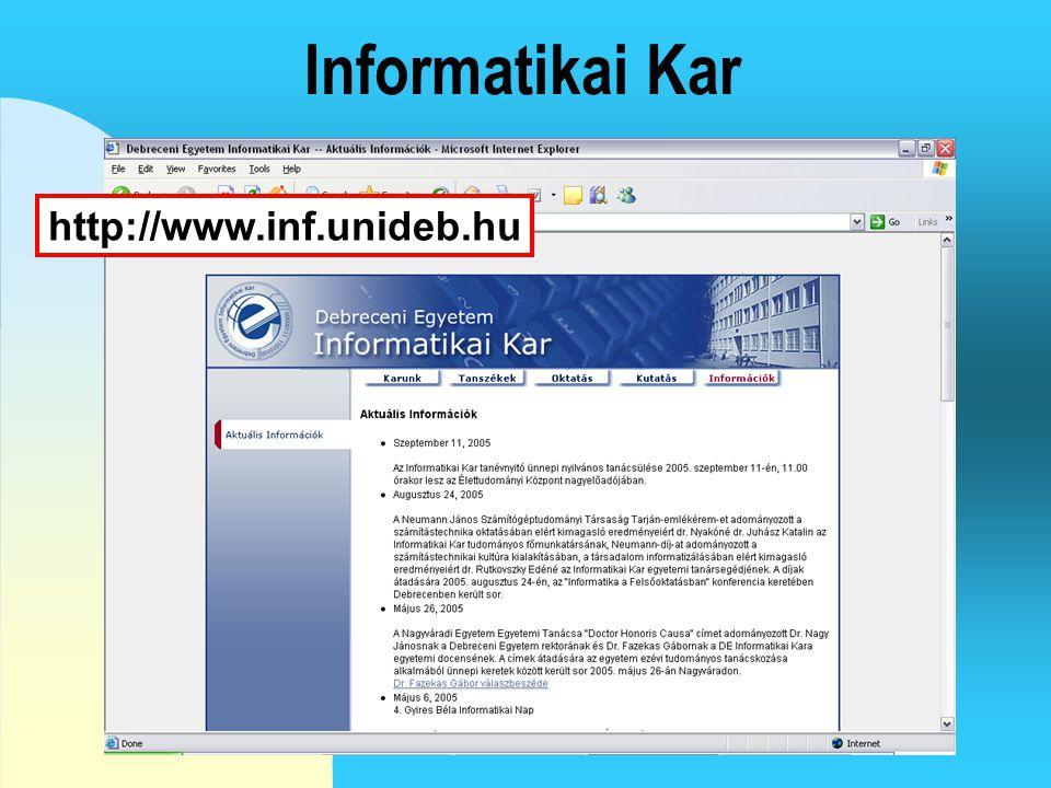 Hallgatói információk http://hi.ttk.unideb.hu