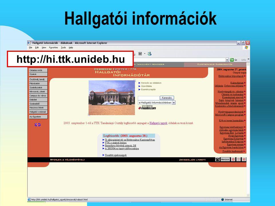Az ETR tanulmányi rendszer http://etr.unideb.hu