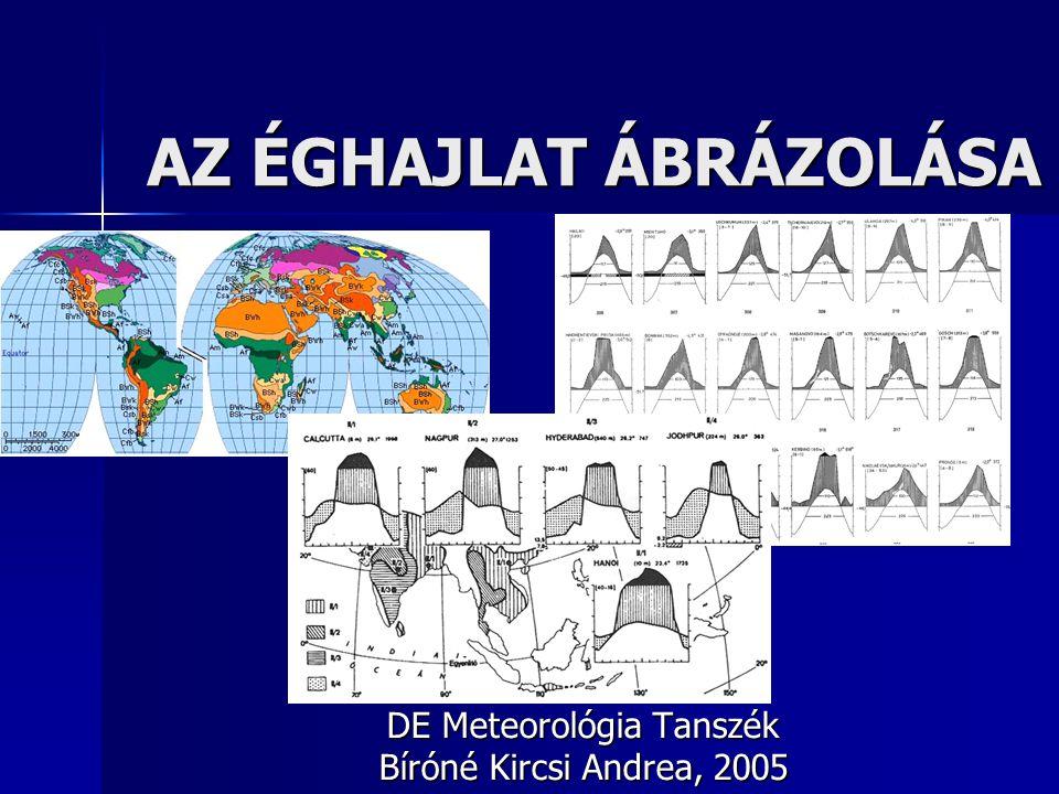 AZ ÉGHAJLAT ÁBRÁZOLÁSA DE Meteorológia Tanszék Bíróné Kircsi Andrea, 2005