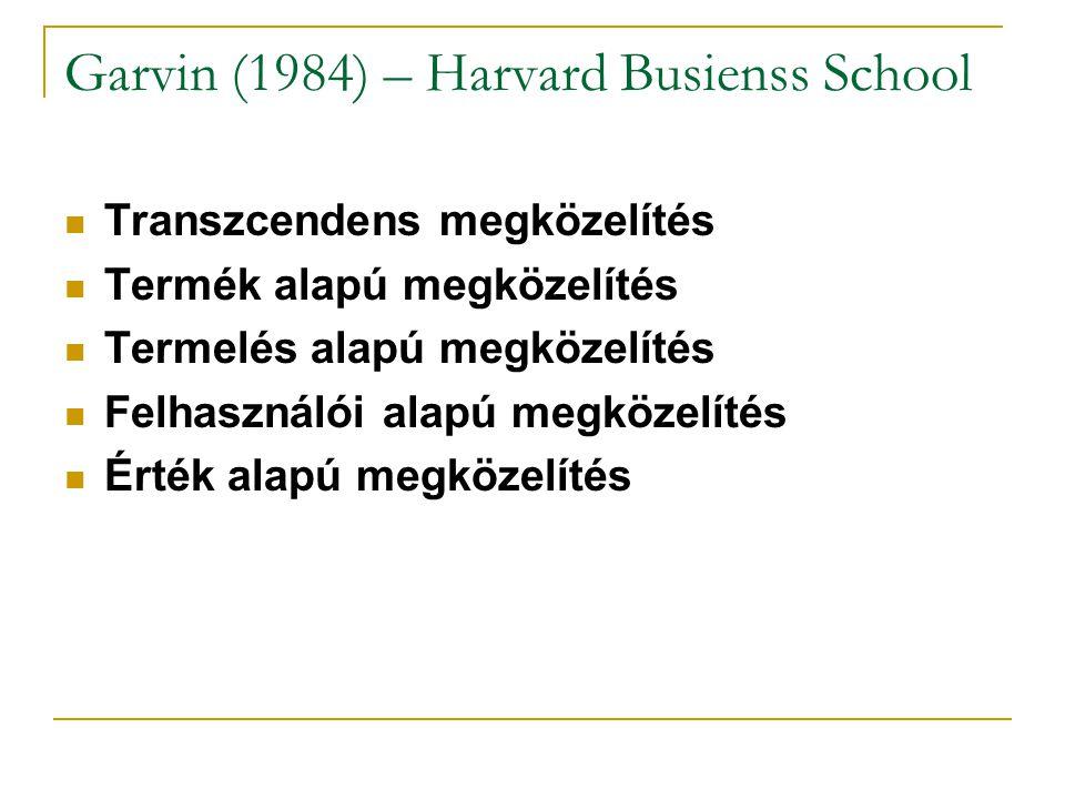 Garvin (1984) – Harvard Busienss School Transzcendens megközelítés Termék alapú megközelítés Termelés alapú megközelítés Felhasználói alapú megközelítés Érték alapú megközelítés