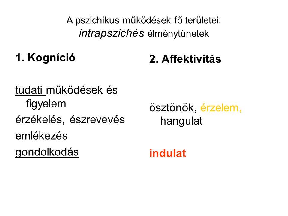 A pszichikus működések fő területei: intrapszichés élménytünetek 1. Kogníció tudati működések és figyelem érzékelés, észrevevés emlékezés gondolkodás