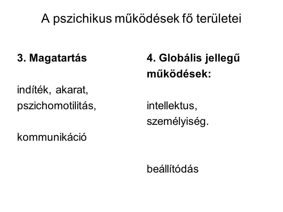 A pszichikus működések fő területei 3. Magatartás indíték, akarat, pszichomotilitás, kommunikáció 4. Globális jellegű működések: intellektus, személyi