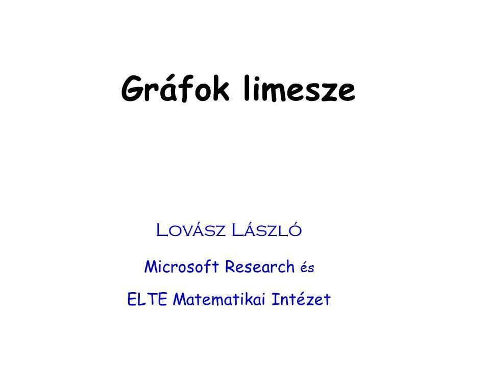 Gráfok limesze Lovász László Microsoft Research és ELTE Matematikai Intézet