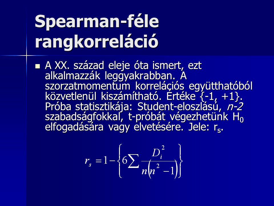 Spearman-féle rangkorreláció A XX. század eleje óta ismert, ezt alkalmazzák leggyakrabban. A szorzatmomentum korrelációs együtthatóból közvetlenül kis